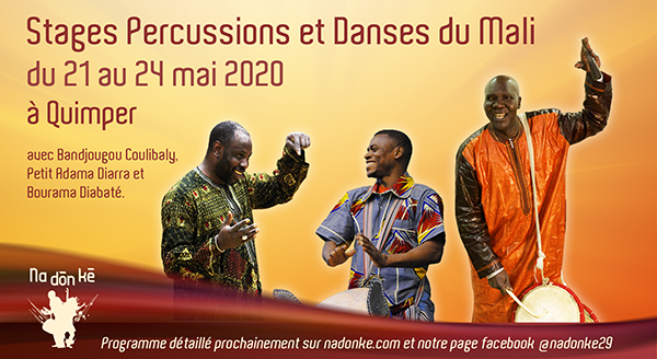 stages percussions et danses maliennes à Quimper mai 2020