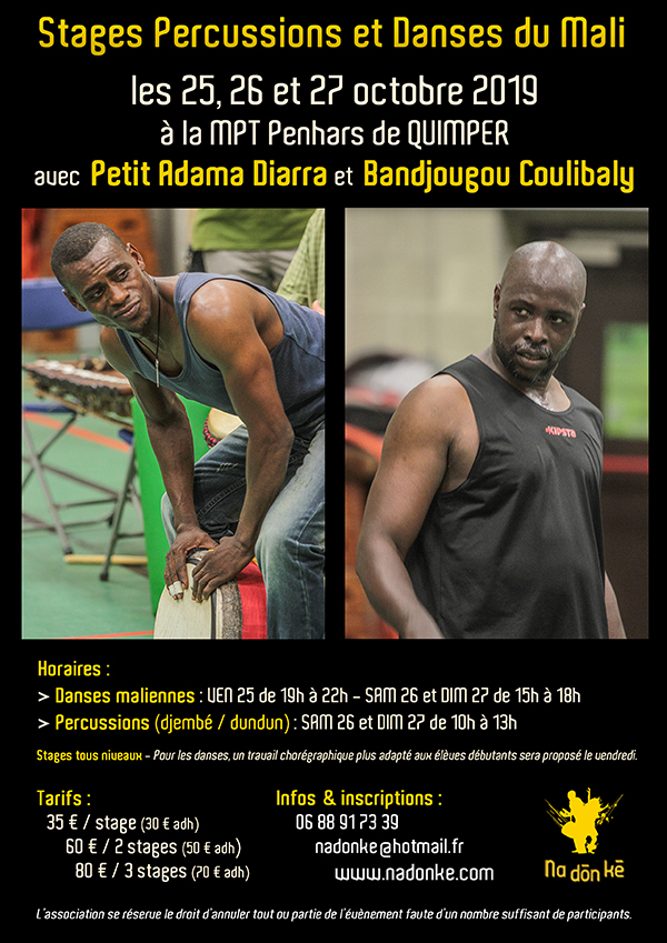 stages percussions et danses du Mali octobre 2019 à Quimper